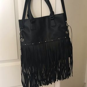 Handbags - Vegan black fringe handbag